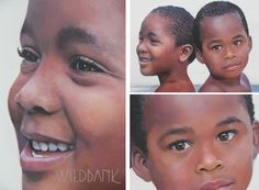 """""""Brothers"""", portrait painting on canvas 30"""" X 40""""(upper right) and details (2) by Charles Wildbank 2012"""