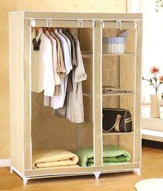 EI Cream Foldable Collapsable Wardrobe Cupboard Storage Cabinate Almirah Rack