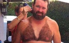 Fuzzy Bikini no comment! (funny, hilarious, mankini, shaved, chest, pattern, outline, so wrong)