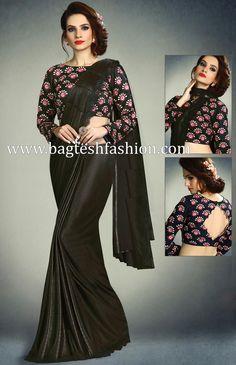 Attractive Black Shimmer Lycra Saree