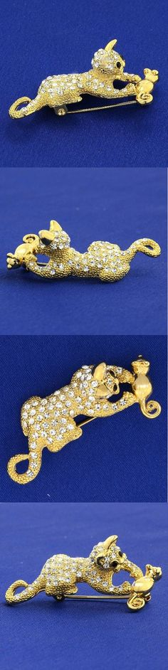 Pins and Brooches 50677: W Swarovski Crystal Cat With Mouse New Brooch Jewelry Gift -> BUY IT NOW ONLY: $35 on eBay!