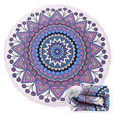 $20.99--MANDALA--Thick Terry Round Beach Towel/Round Beach Blanket/Round Beach Mat Roundie Tapestry/Round Yoga Mat with Fringe Tassels  Home & Kitchen