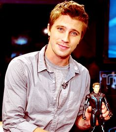 Garret Hedlund with his Tron self, Sam Flynn!