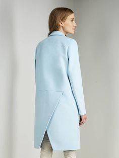 Пальто женское цвет светло-бирюзовый, Пальтовая ткань, артикул 3017740p10051