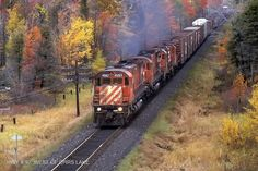 Norm Conway took this great shot of CP Rail M630 4563 leading other MLW's at Highwy #97 just west of Orr's Lake, Ontario, in 1985. Just imagine the sights and sounds!  Interestingly, CP 4563 is now preserved in operating condition at the CRHA ExpoRail Musem in Montreal in full CP Rail paint.