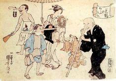 <天狗の往来 : TENGU NO OURAI> TRAFFIC BY TENGU(LONG-NOSED GOBLIN)  KUNIYOSHI UTAGAWA 1798-1861 Last of Edo Period