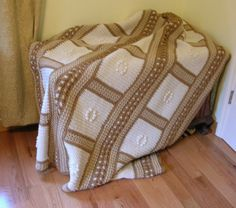 Crochet Afghan Blanket Throw Beige and  Neutral by LittlestSister, $325.00