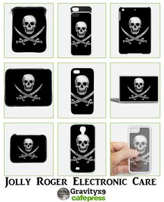 Electronic Care - #JollyRoger Skull with swords crossing below him. Phone cases, covers, sleeves and more at #Cafepress #Gravityx9 #TLAPD -