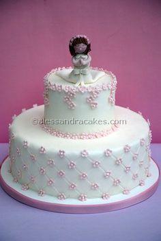 First communion cake- torta prima comunione by Alessandra Cake Designer, via… First Communion Cakes, Première Communion, Communion Dresses, Bautizo Cakes, Cupcakes, Cupcake Cakes, Comunion Cakes, Realistic Cakes, Religious Cakes