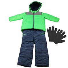 Carters Boys Heavy Winter Jacket and Snow Bib Overall Pants and Gloves Green 4 -- Be sure to check out this awesome product.(This is an Amazon affiliate link and I receive a commission for the sales)