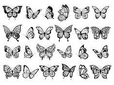 Tiny Butterfly Tattoo, Butterfly Outline, Butterfly Drawing, Hand Tattoos, Small Tattoos, Sleeve Tattoos, Stencils Tatuagem, Tattoo Stencils, Insect Tattoo