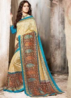Stunning Cream Art Silk Jacquard Designer Printed Saree