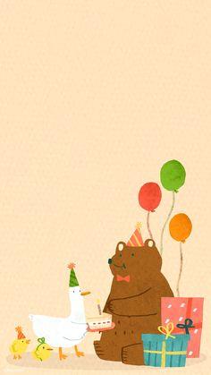 Download premium vector of Animal doodle birthday mobile phone wallpaper