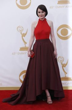 Michelle Dockery's color-blocked Prada gown-- Emmys 2013