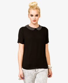 Studded Peter Pan Collar Top | FOREVER21 - 2020435734, $19.80, Size Large. What do you think?