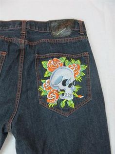 Ed Hardy Men's Jeans Skulls Roses Orange Stitch Dark Denim 38 Waist 32 Inseam | eBay