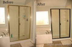 Not in love with your snazzy brass shower?Change out your builder grade brass shower trim using Rustoleum's Oil Rubbed Bronze spray paint ... what would cost you $800 to replace, will only cost you $5 to paint. Holds up well with the water because it is indoor/outdoor paint. Via Style With Cents