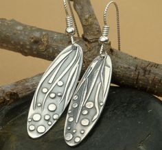 Fine Silver Appliqued Silver Oval Earrings Small by Silvermaven, $34.00