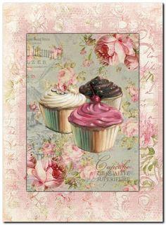 Vintage Shabby Chic Design #2 Decoupage Vintage, Shabby Vintage, Vintage Paper, Shabby Chic, Cupcake Art, Vintage Pictures, Christmas Art, Diy Art, Scrapbook Paper