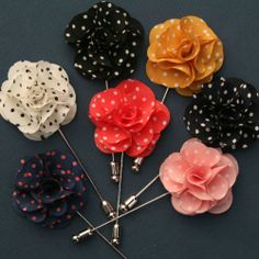 Don't be afraid to add a little splash of color on your lapel. It's a great conversation starter. Fabric Flower Tutorial, Fabric Flowers, Tie Accessories, Wedding Accessories, Hijab Pins, Lapel Flower, Tie Styles, Grad Gifts, Lapel Pins