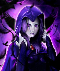 Raven battles the forces of evil alongside her adoptive family, the Teen Titans while trying to control her baser, antagonistic instincts she inherited from her demonic father, Trigon. Raven Comics, Marvel Dc Comics, Raven Marvel, Raven Fanart, Raven Teen Titans Go, Female Hero, Beast Boy, Dc Heroes, Nightwing