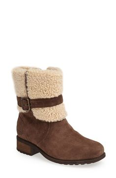 UGG® Australia 'Blayre' Water Resistant Boot (Women), An exposed shearling collar adds signature UGG attitude to a rugged stacked-heel boot cast in lush, water-resistant suede. Nordstrom Boots, Cheap Snow Boots, Uggs For Cheap, Chanel, Boots Online, Pretty Shoes, Winter Boots, Winter Snow, Ugg Australia