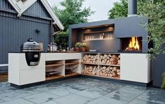 Outdoor Kitchen Ideas - Get our best ideas for outdoor kitchens, including charming outdoor kitchen decor, backyard decorating ideas, and pictures of outdoor kitchens. Outdoor Kitchen Bars, Pizza Oven Outdoor, Patio Kitchen, Outdoor Kitchen Design, Outdoor Cooking, Outdoor Dining, Kitchen Decor, Outdoor Decor, Outdoor Kitchens