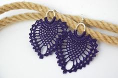 Crochet earrings - Large crochet earrings - Crochet earring jewelry - Purple - Textil jewelry -    This pair is crocheted with 100% cotton yarn, so