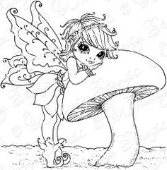 .fairy with mushroom colouring