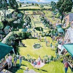 View the painting: Garden Fete Dorset by Francis Farmar John Galliano, Clarks, Steve Madden, Landscape Paintings, Landscapes, Village Fete, Allotments, Woodland Garden, Art Pages