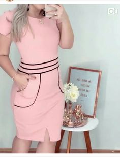 Church Dresses, Formal Dresses, Simple Dresses, Dresses For Work, Curvy Girl Outfits, Business Attire, Pattern Fashion, Dress Patterns, African Fashion