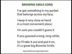 """Audio and lyrics for """"Brownie Smile Song"""", recorded for instructional purposes as part of the Basic 8 Girl Scout Songs Project 2012 Girl Scout Swap, Girl Scout Leader, Girl Scout Troop, Girl Scout Songs, Girl Scout Crafts, Brownies Activities, Smile Song, Brownie Guides, Girl Scout Bridging"""