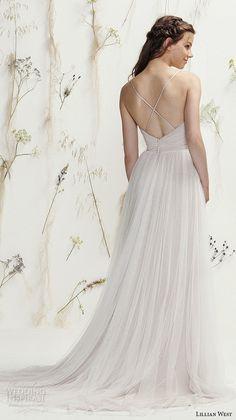 Lillian West Spring 2016 Wedding Dresses | Wedding Inspirasi | Silk Chiffon Bridal Gown, V Neckline, Criss-Cross Spaghetti Straps, Court Length Train××××