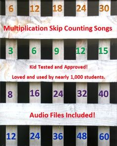 Multiplication Skip Counting Songs: Need to remediate and get some students more fluent with their multiplication tables? Of all the songs we have created for our students over the last 20+ years of teaching, these 8 songs are by far our most famous and most used! Audio file included.