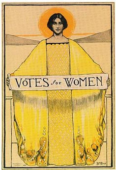 Suffragists shared posters, pamphlets and other literature across state campaigns. Oregon women used this Art Nouveau style poster by Bertha Boyé designed for the California election of 1911. (Public domain image)