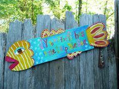 Springtime Fish Beach Decor Repurposed Folk Art by evesjulia12, $58.00