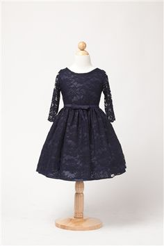 girls' three quarter sleeve lace dress
