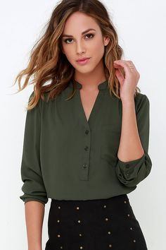 Olive Green Blouse and that skirt ///