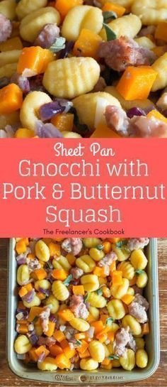 This gnocchi roasted in a sheet pan with sausage meat, sage and butternut squash is a super easy hands-off recipe, perfect for a family dinner. #freelancelife #sheetpan #onepan #gnocchi