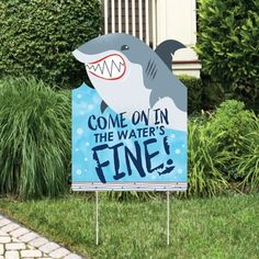 Shark Zone - Shark Week Party Decorations - Jawsome Shark Party or Birthday Party Welcome Yard Sign Image 1 of 7 6th Birthday Parties, 1st Boy Birthday, Birthday Party Decorations, Ocean Party Decorations, Shark Birthday Ideas, Fish Themed Parties, Tea Parties, Beach Party Decor, 5th Birthday Ideas For Boys