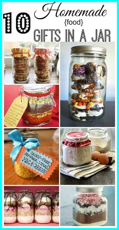gifts in a jar are fun to make and a frugal gift to give to just about everyone. Great when you need a little something to show appreciation to a teacher, neighbor or friend. They're also a great starting off point for gift baskets! Here are 10 Homemade Mason Jar Meals, Mason Jar Gifts, Meals In A Jar, Mason Jar Diy, Gift Jars, Diy Gifts In A Jar, Christmas Food Gifts, Homemade Christmas Gifts, Homemade Gifts