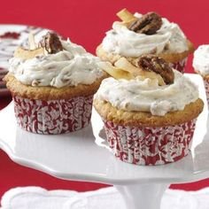 Coconut Pecan Cupcakes Recipe from Taste of Home -- shared by Tina Harrison of Prairieville, Louisiana