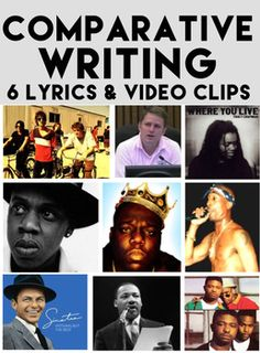 Comparative Writing: BUNDLE: 6 Activities: Lyrics & Videos: Comparative Writing: BUNDLE: 6 Activities: Lyrics & Video Clip FUN. Compare and contrast lyrics for fun CCSS aligned learning in a culturally relevant multi media classroom #musicaspoetry