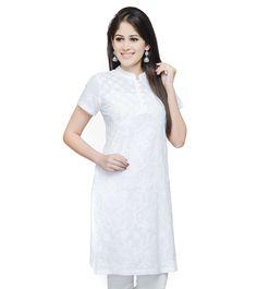 #White #Cotton #Cambric Lucknavi Chikankari Mini #Kurta by #Fabindia at #Indianroots