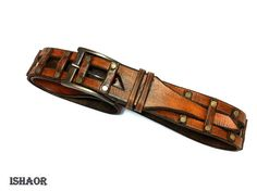 brown leather belt  mens beltstudssteampunkleather belt by ISHAOR, $250.00