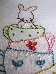 Friends for Tea Embroidery Set  2 PDF Patterns by Bumpkin on Etsy - This would make such a cute Easter pillow.