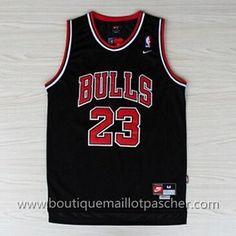 maillot nba pas cher Chicago Bulls Jordan #23 Noir mesh tissu