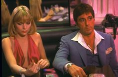 Al Pacino and Michelle Pfeiffer in Scarface, she was so beautiful in this film. Al Pacino, Film Scarface, Scarface Quotes, Scarface 1932, Michelle Pfeiffer, Tattoo Casino, Elvira Hancock, 1980s Films, Miami Vice