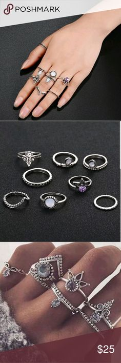 8pcs Crown Purple Gem Boho Vintage Stack Midi Fing 8pcs Crown Purple Gem Boho Vintage Stack Midi Finger Ring Knuckle Band Jewelry  1.4-1.6 cm Ring Size. Urselamay Jewelry Rings