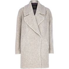 Light grey boucle oversized coat